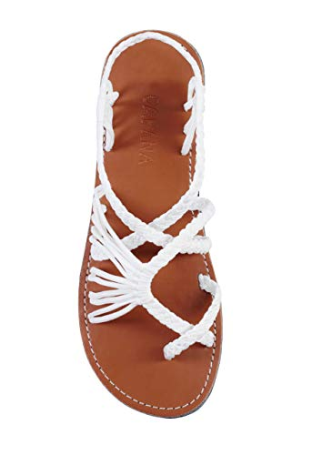 Capana Criss Cross Summer Hand-Woven Rope Flat Sandals for Women Banyan | (Shop From Amazon)