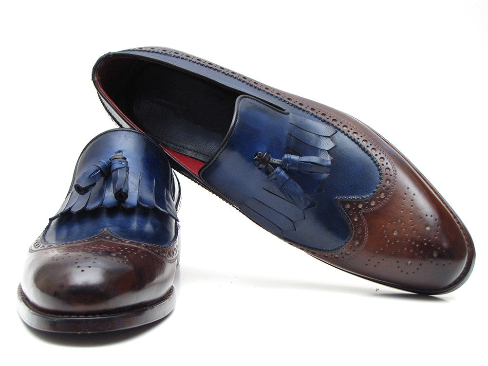 Paul Parkman Kiltie Tassel  Dark Brown and Navy Loafer