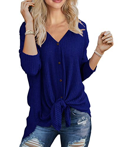 Henley IWOLLENCE Women Waffle Knit Tunic Tie Knot Blouse, Loose Fitting Bat Wing Plain Shirts (Shop From Amazon)