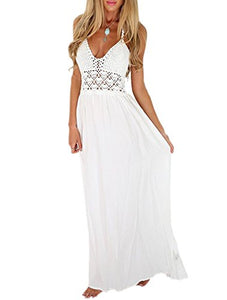 LILBETTER Women's Beach Crochet Backless Bohemian Halter Maxi Long Dress (Shop From Amazon)
