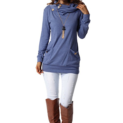 levaca Womens Long Sleeve Button Cowl Neck Casual Slim Tunic Tops with Pockets (Shop From Amazon)