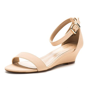 DREAM PAIRS Women's Ingrid Ankle Strap Low Wedge Sandal |(Shop From Amazon)