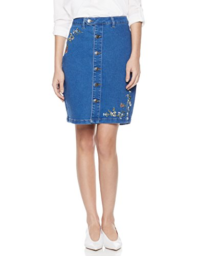 Amazon.com: Lily Parker Women's Floral Embroidered Button Down Denim Skirt: Clothing
