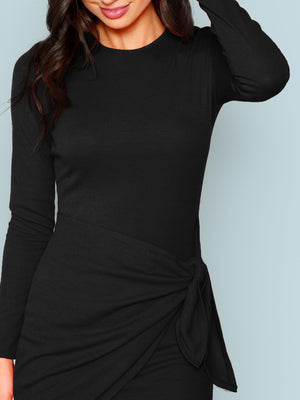 Knot Front Wrap Bodycon Dress (XS to L)....(8 Colors)