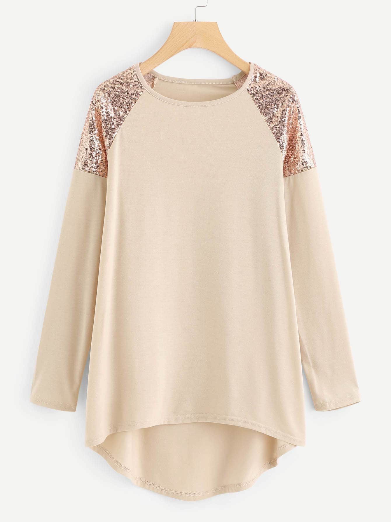 Plus Contrast Sequin Asymmetrical Tee