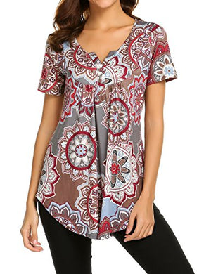 Women's Paisley Printed Long Sleeve Henley V Neck Pleated Casual Flare Tunic Blouse Shirt at Amazon (Shop From Amazon)