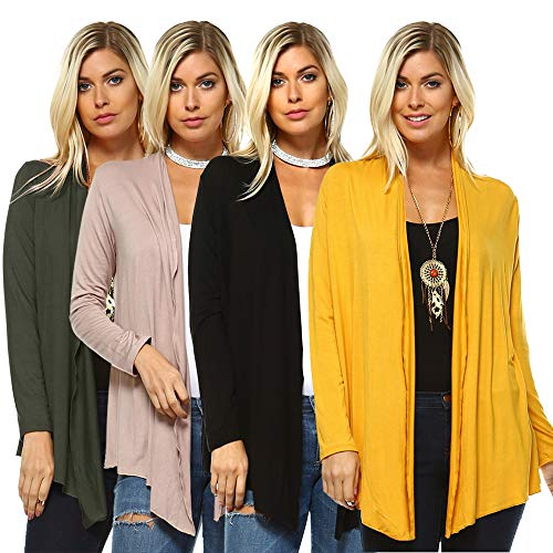 Isaac Liev 4-Pack Women's Open Front Lightweight Casual Flyaway Cardigan at Amazon (Shop From Amazon)