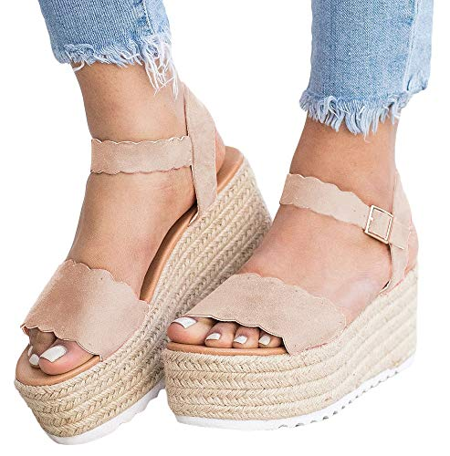 | Nailyhome Womens Espadrilles Platform Sandals Open Toe Slingback Ankle Strap with  Buckle Suede Flat Heel Sandals | Ankle & Bootie (Shop From Amazon)