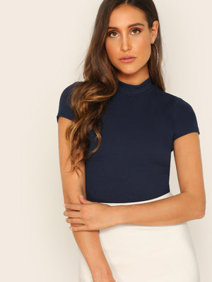 Rib Knit Crop T-shirt