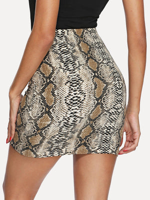 Snakeskin Print Bodycon Skirt