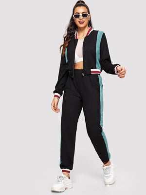Color Block Zip Up Sweatshirt and Sweatpants Set