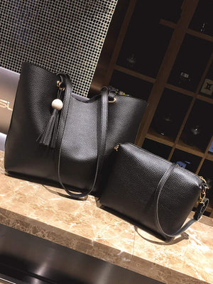 Tassel Detail PU Combination Bag 2pcs