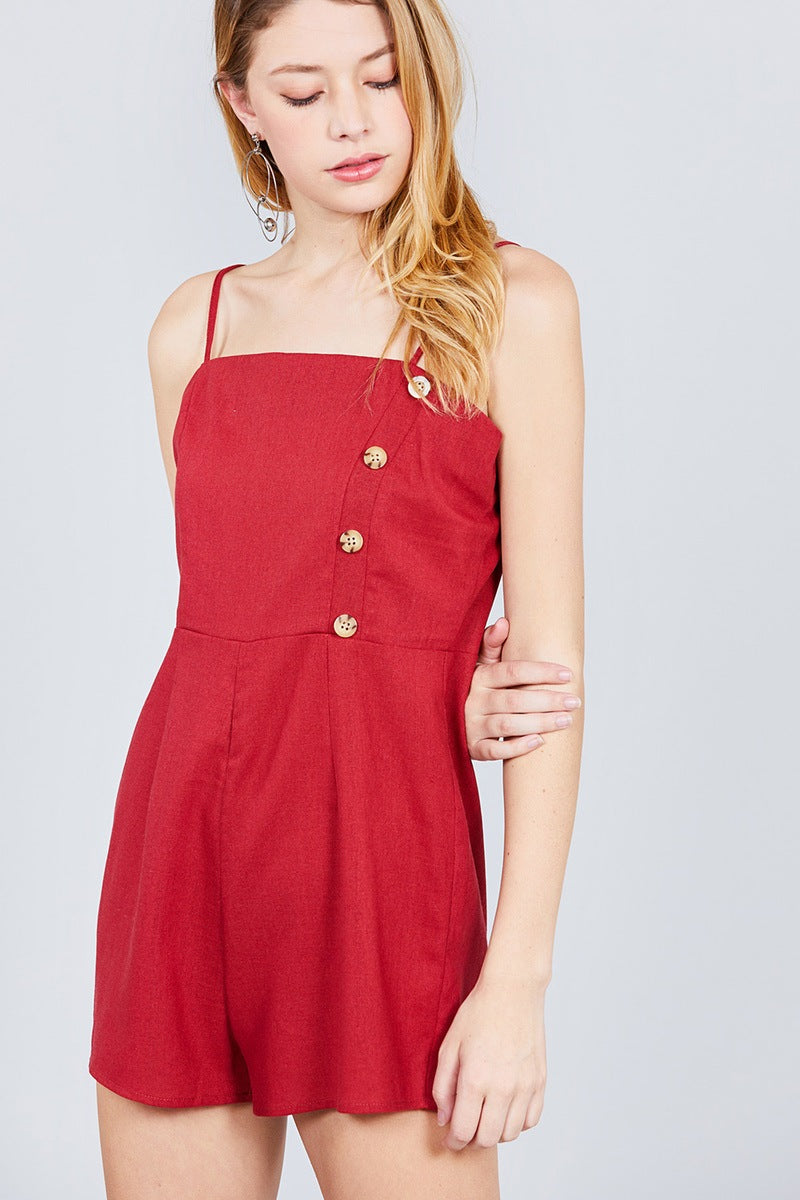 Button Down Cami Linen Romper