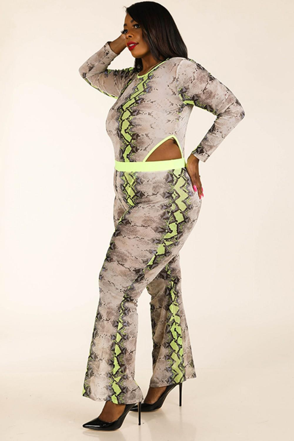 Snake Printed Mesh Bodysuit & Leggings Set