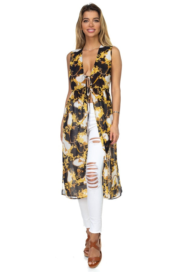 Baroque & Chain Print Duster Vest
