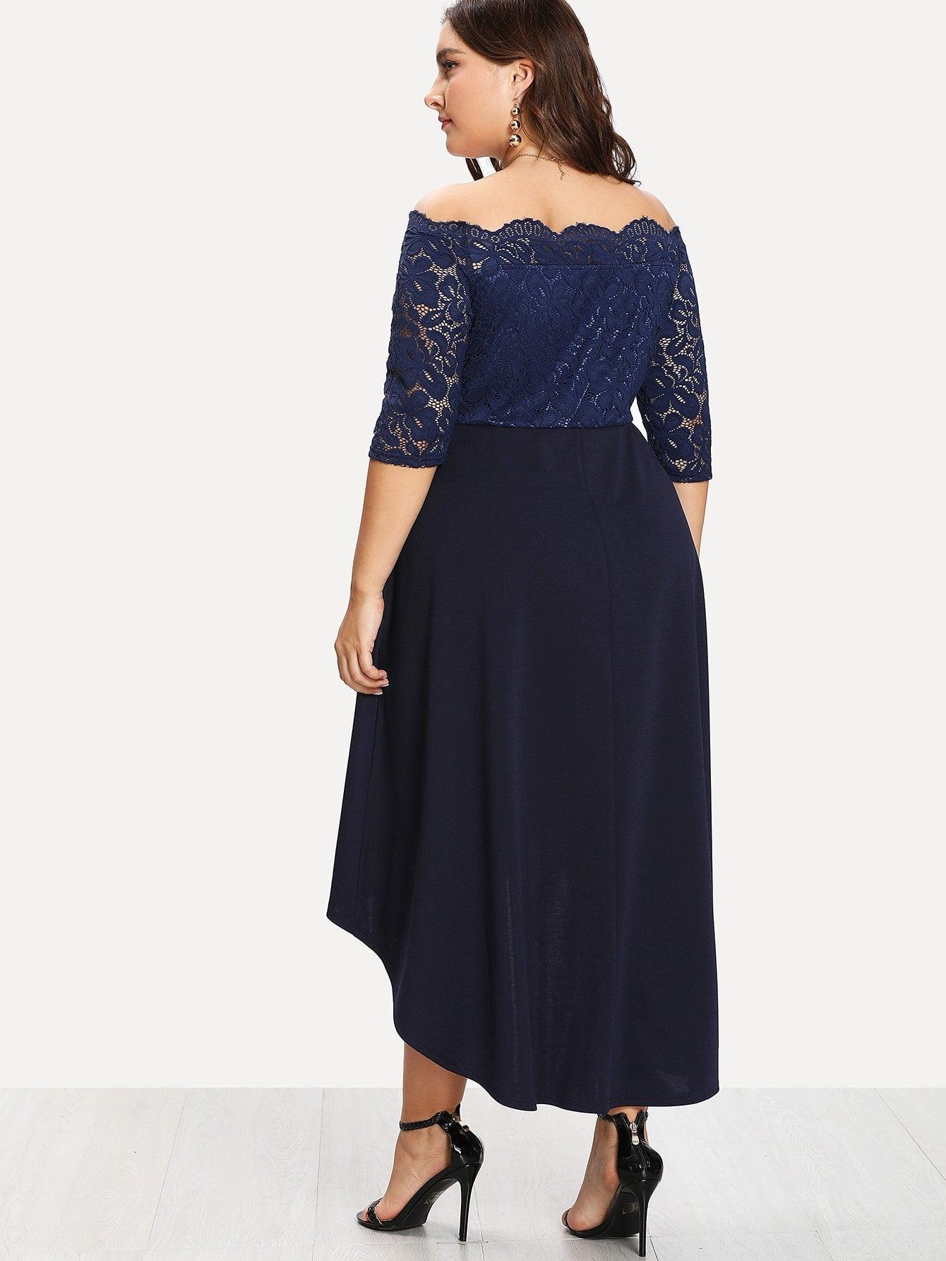 Plus Lace Overlay Dip Hem Bardot Dress