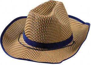 Natural Straw Cowboy Hat with Blue Band - Light Brown...