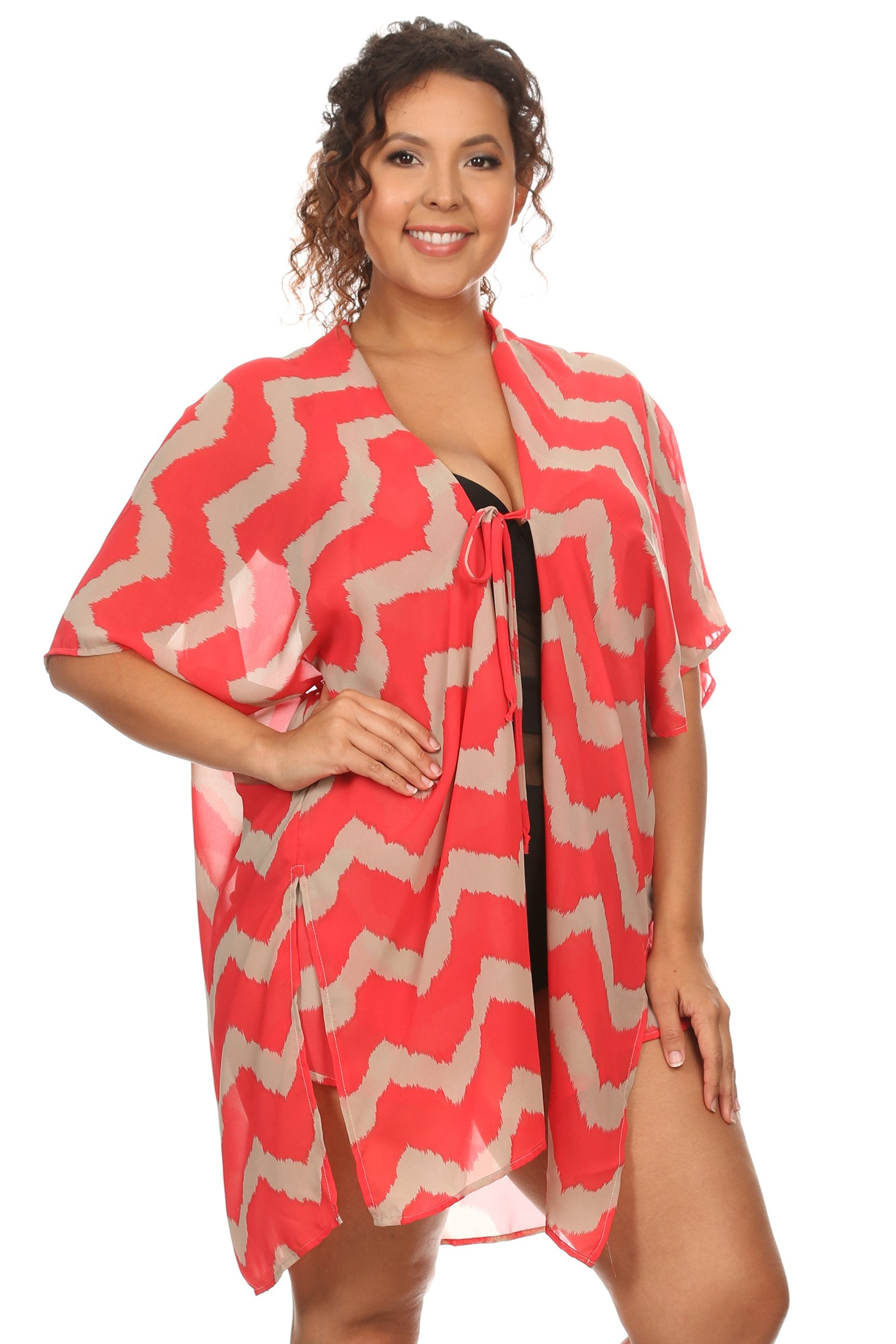 Plus Size Women's Front Tie Beach Dress Cover Up Swimwear,  Made in USA