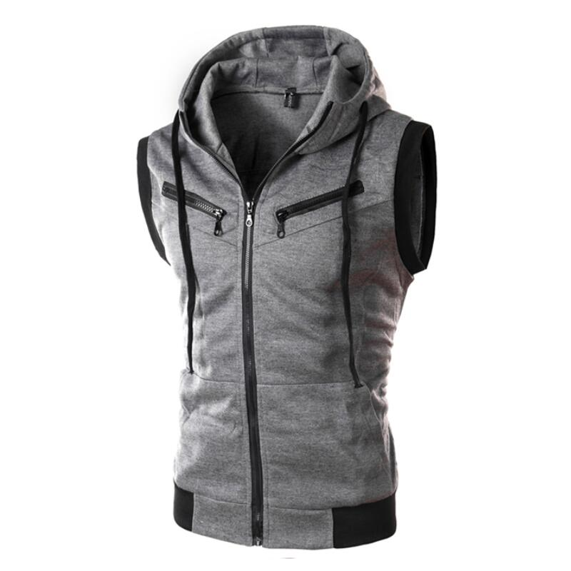 Men 2019 Gilet Hooded Fashionable Sleeveless Waistcoat, Sleeveless, Zipper Pocket,Casual Cotton Wear Men Vest M to Plus Size XXXL