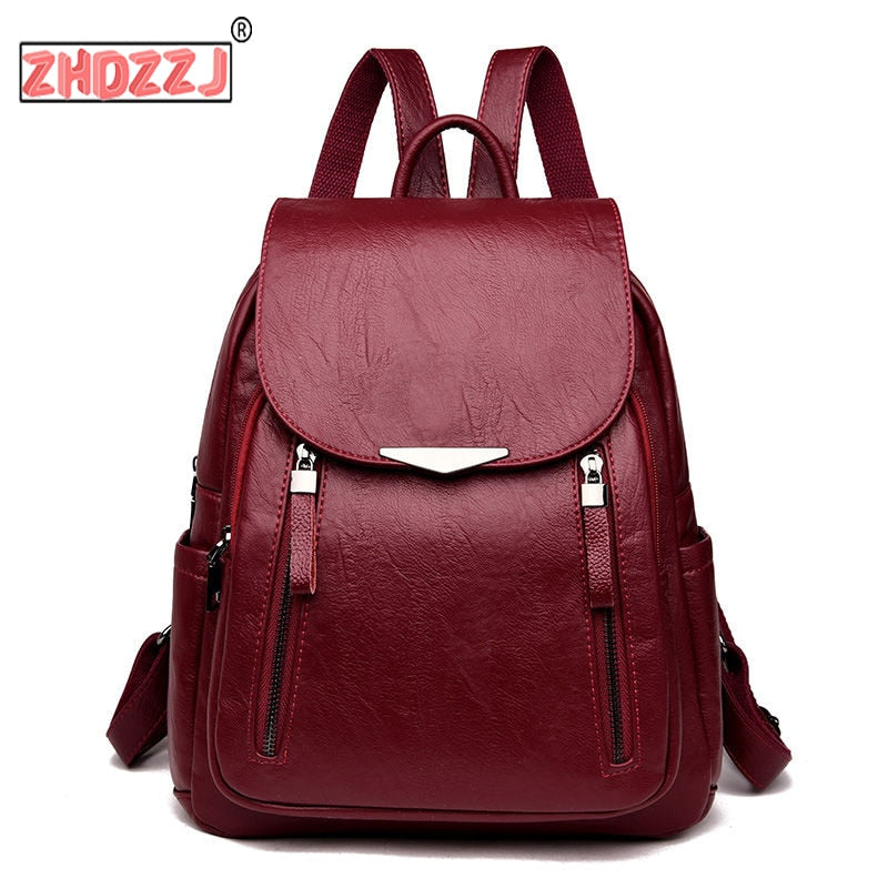 Ladies' Casual Leather Backpack,  Large Capacity, School, Leisure, Multiple Colors