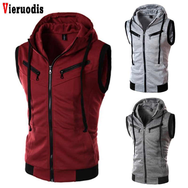 Men Vest Plus Size XXXL Male Sleeveless Jacket Zipper Pocket Gilet Casual Cotton Men Fashion Brand Solid Color Hooded Waistcoat