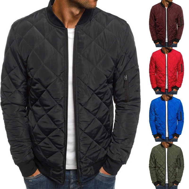 Trendy Rhombus Men Winter O Neck Zipper Parka,  Casual Warm, Waterproof (Ropa Hombre Invierno)