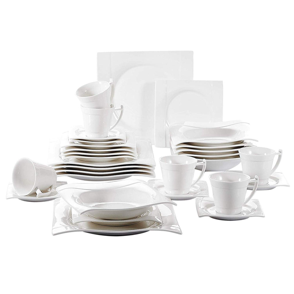 Vancasso 30 Pieces White Porcelain Dinnerplate Set includes 6 Cups/Saucers/Dinner Plates/Dessert Plates/Soup Plates