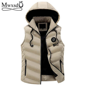 Gilet Men Winter Warm Sleeveless Cotton Hooded Vest Waistcoat Jacket, Zipper Waistcoat