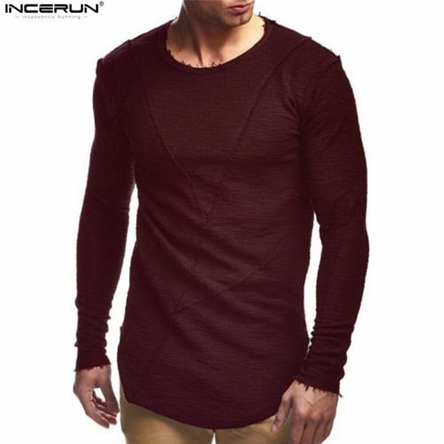 New Mens Hip Hop Muscle TShirt, Long Sleeve,Solid Color, O-Neck