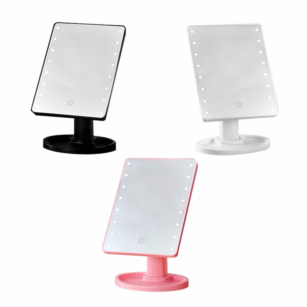 360 Degree Rotating Cosmetic Makeup Mirror, Battery Powered 16 LED, Touch Screen