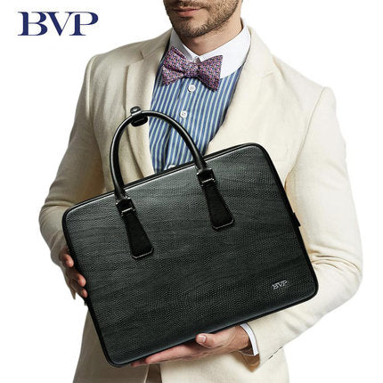 BVP Brand High Quality Genuine Leather Men Portable 14-Inch Briefcase, Ideal for Laptop, Messenger Bag