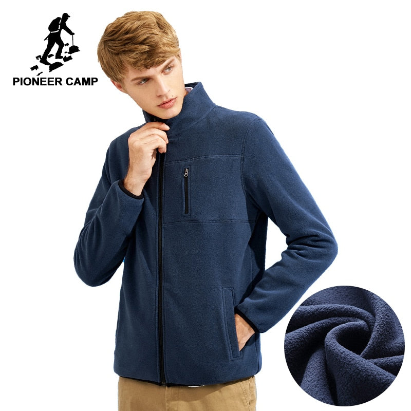 Pioneer Camp Warm Fleece Men Jacket, Casual Solid Thick Coat  For Fall and Winter
