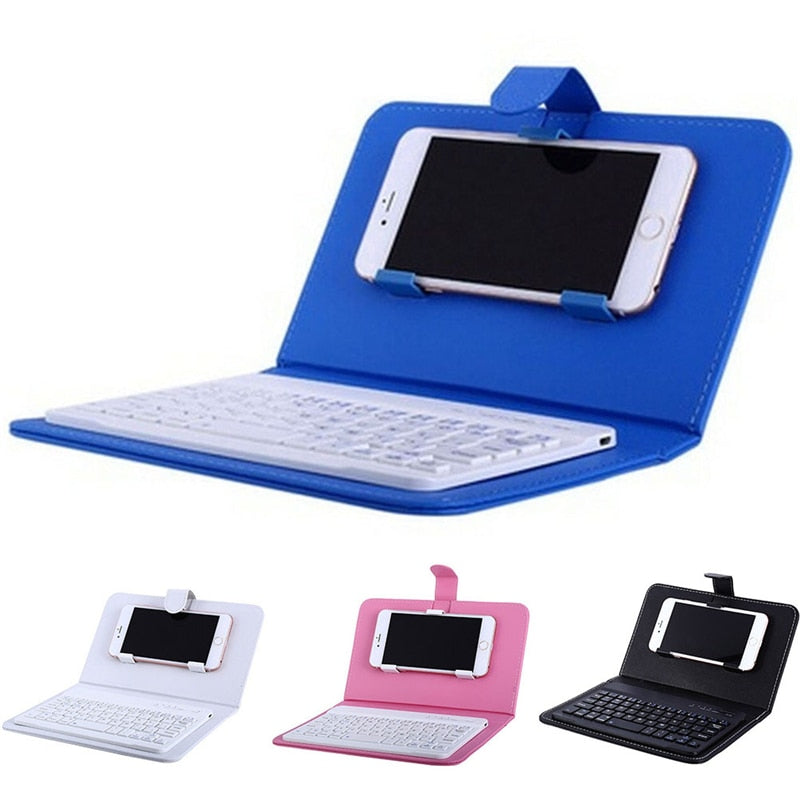 Protective Portable  Leather Wireless Keyboard Case for iPhones and  Mobile Phone with Bluetooth (IPhone 6, 7, Smartphone
