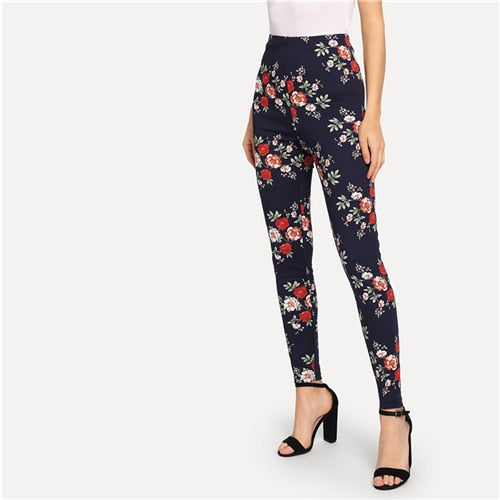 SHEIN Highstreet Navy  Elegant Flower Print Skinny Leggings for dressy. Casual wear....