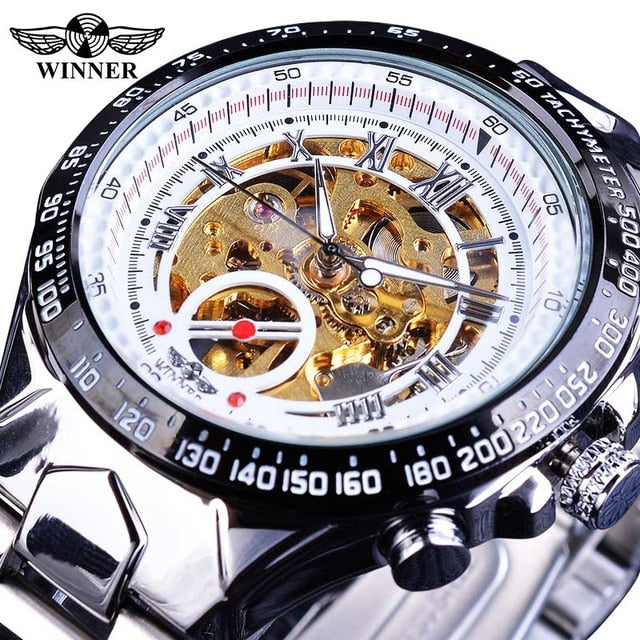 Winner Top Luxury Brand,  New Men Automatic Skeleton Watch Featuring Sport Design Bezel (Montre Homme Clock)