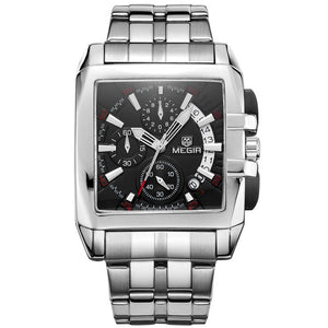 """For the Man In You"", Full Stainless Steel Quartz Square Luxury Sports, Military Style, Chronograph Watch"