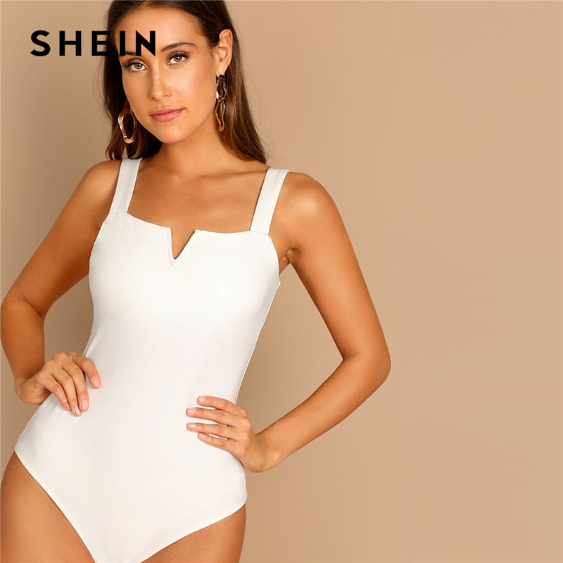 SHEIN Elegant White V-Cut Front with Straps,  Mid Waist Plain Bodysuit for 2019  Modern Lady
