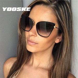 YOOSKE Retro Cat Eye Sunglasses for Women;  Metal Frame, Mirror Reflection,  (UV400)