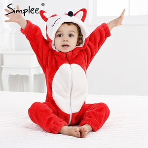 Cartoon Cat, Rabbit, Panda, Girls, Boys Baby Hooded Jumpsuit -It's Playtime...