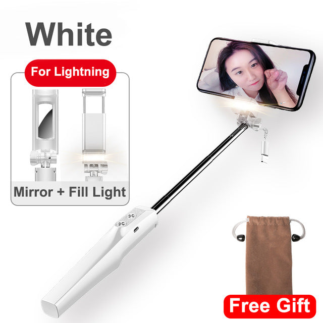 Baseus Wired Selfie Stick For iPhone, Samsung, Huawei, With Fill Light Rear Mirror,  Extendable Stick