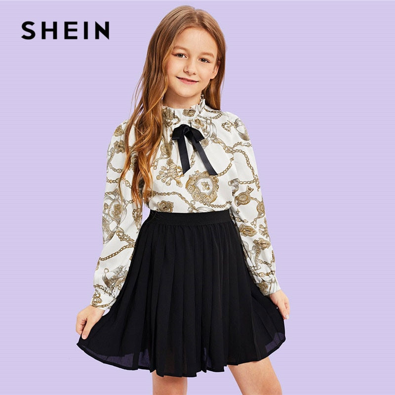 SHEIN  Girls Bow Mock Neck Mixed Print Blouse