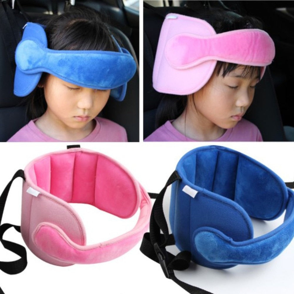 "Sleeping Kid"" Car Safety Seat Head Support Pad w/Fastening Belt, Also for Use in Stroller"