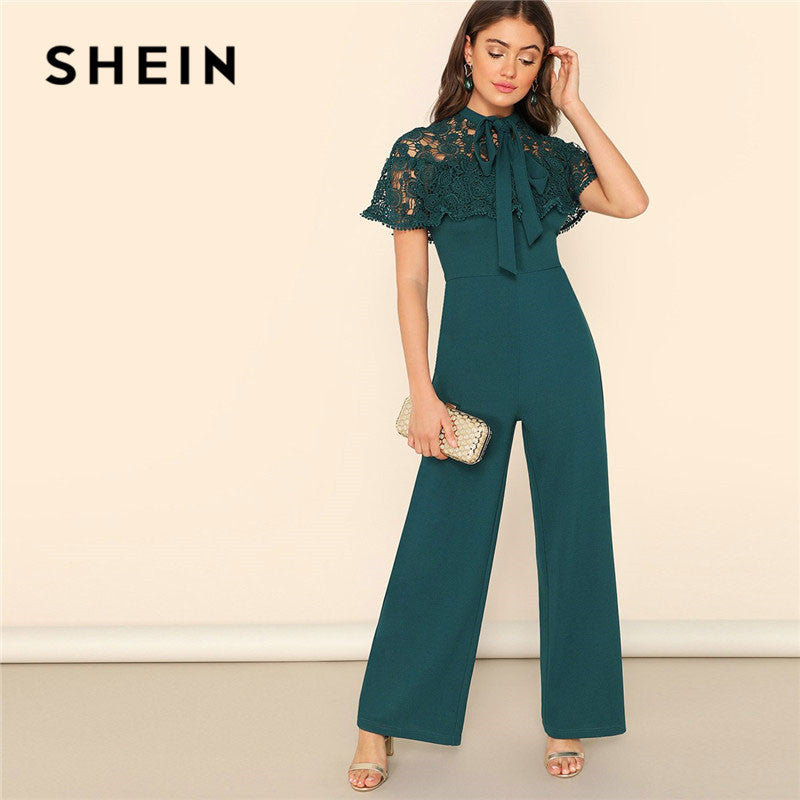 SHEIN Lady's Elegant, Green Bow Tie, Neck Lace, Cape Sleeve, Wide Leg Jumpsuit for Spring and Summer