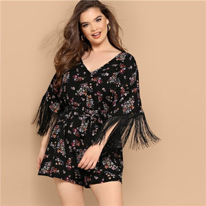 SHEIN Plus Size Boho Fringe Cuff Ditsy Floral Belted V Neck Romper Play Suit,  Half Sleeve