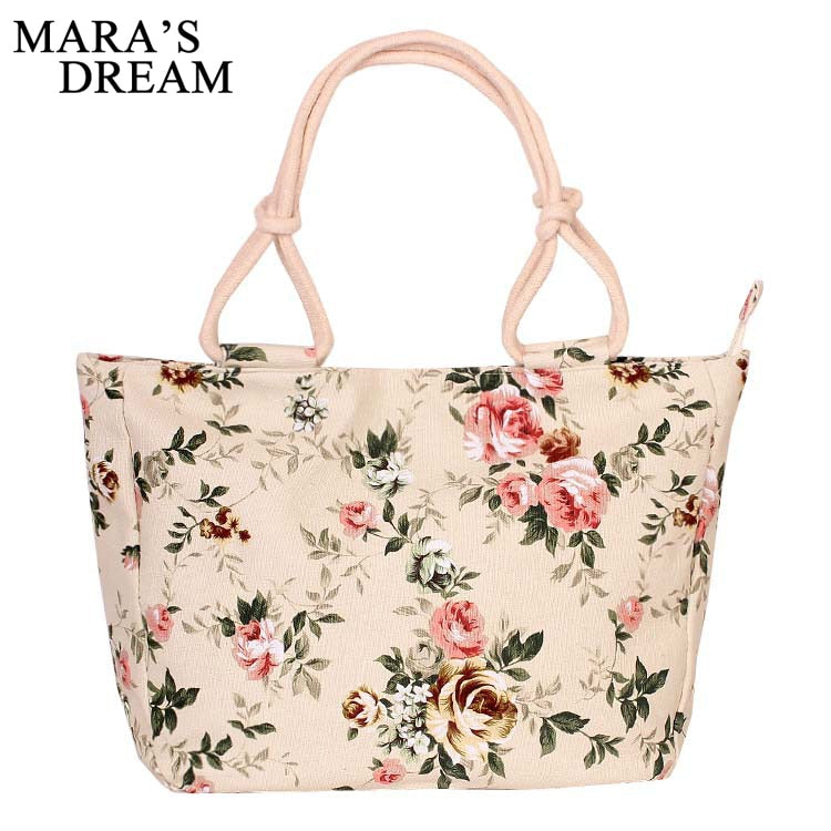 """Mara's Dream"" Fashionable Folding Women Large Size Casual Flower Print Canvas Graffiti Tote  Hand and Shoulder bag"