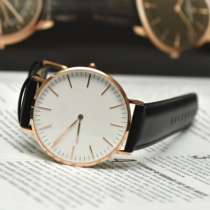 Luxury Brand Men Fashionable, Rose Gold Silver Stainless Steel Bracelet Quartz Watch