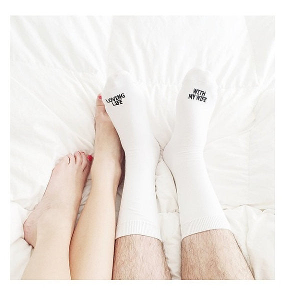 "Anniversary Socks ""LOVING LIFE WITH MY WIFE"" happily married anniversary gift embroidered socks"
