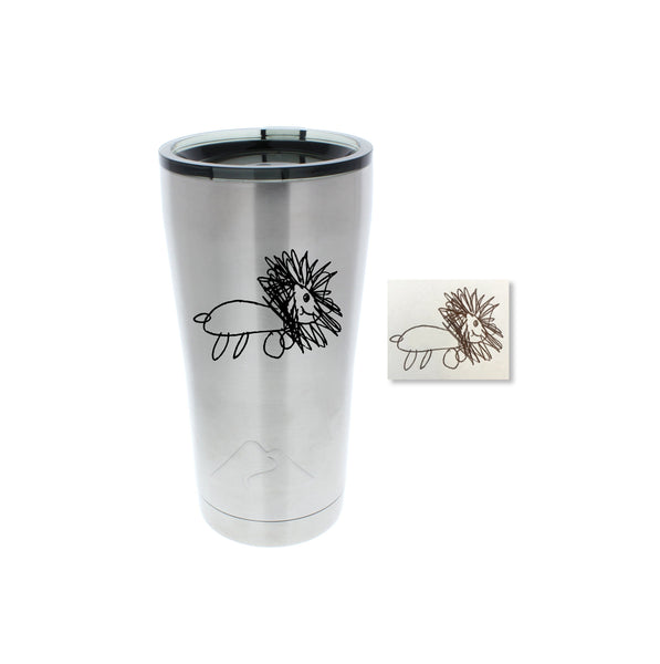 real drawings engraved stainless steel tumbler