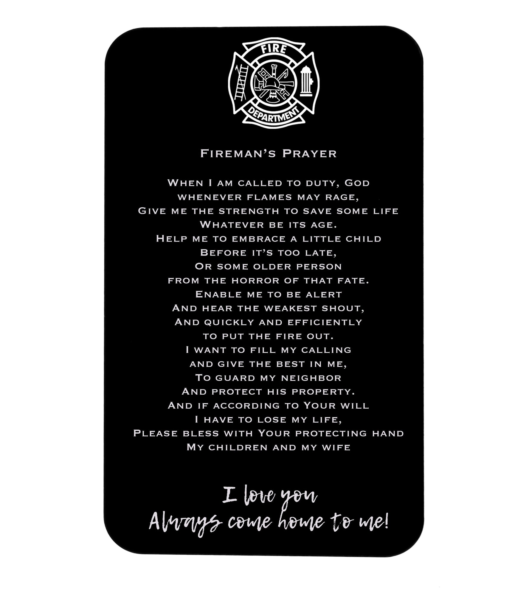 fireman's prayer wallet insert card
