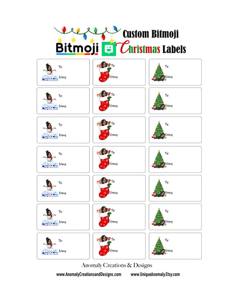 Bitmoji Christmas Gift Labels
